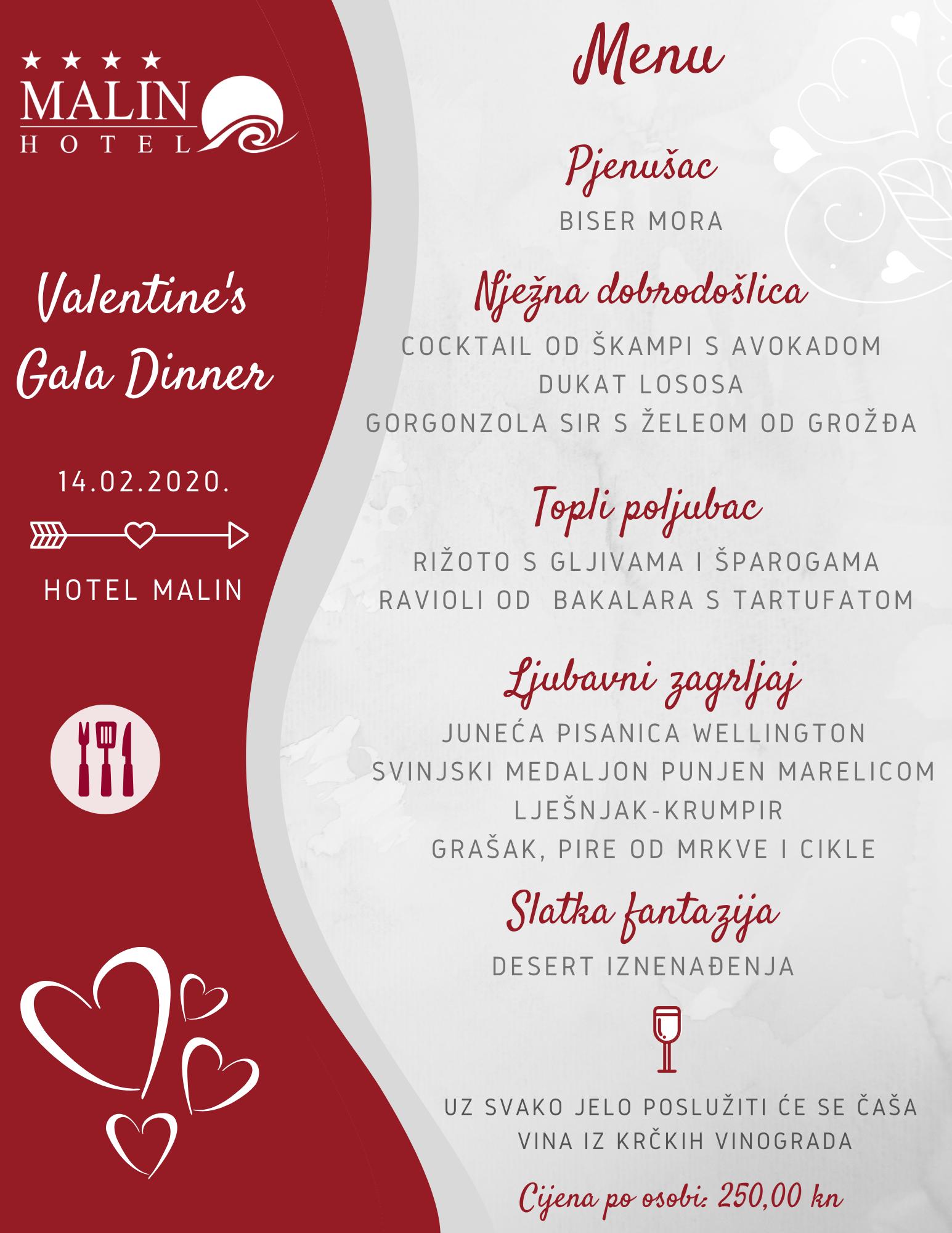 Proslavite Valentinovo u intimnoj atmosferi hotela Malin uz Valentine's Gala Dinner