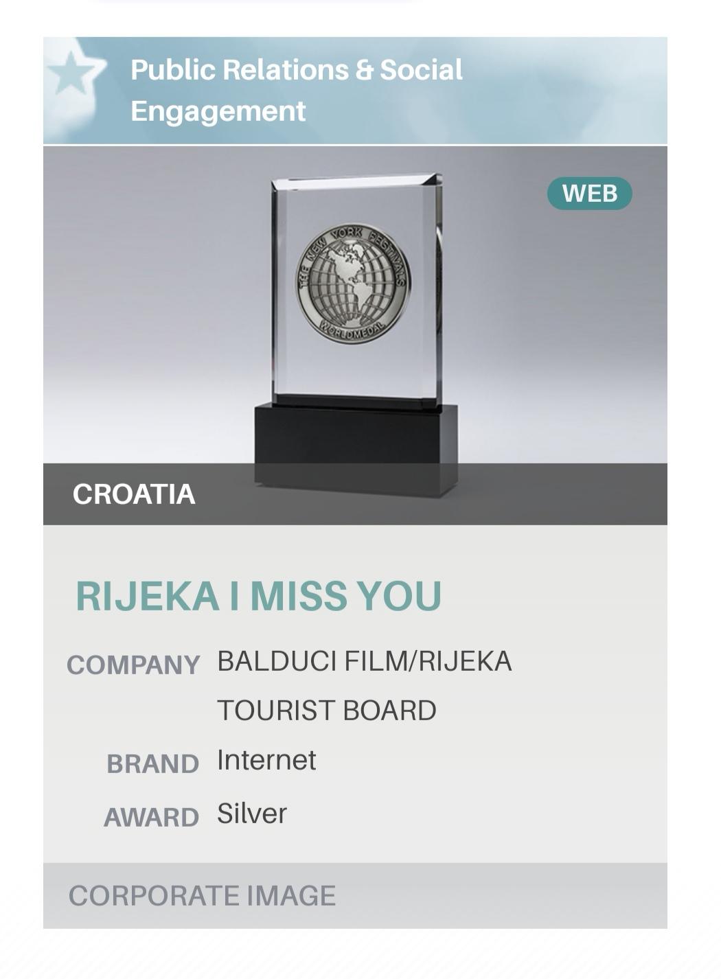 Srebrna medalja za promotivni film RIJEKA - I MISS YOU
