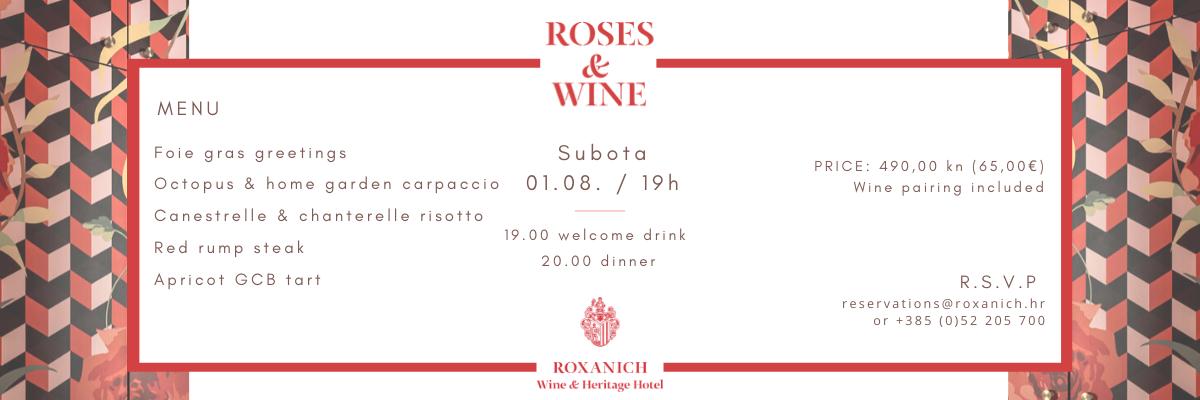 Wine & Heritage hotel Roxanich u subotu donosi III. Roses & Wine event