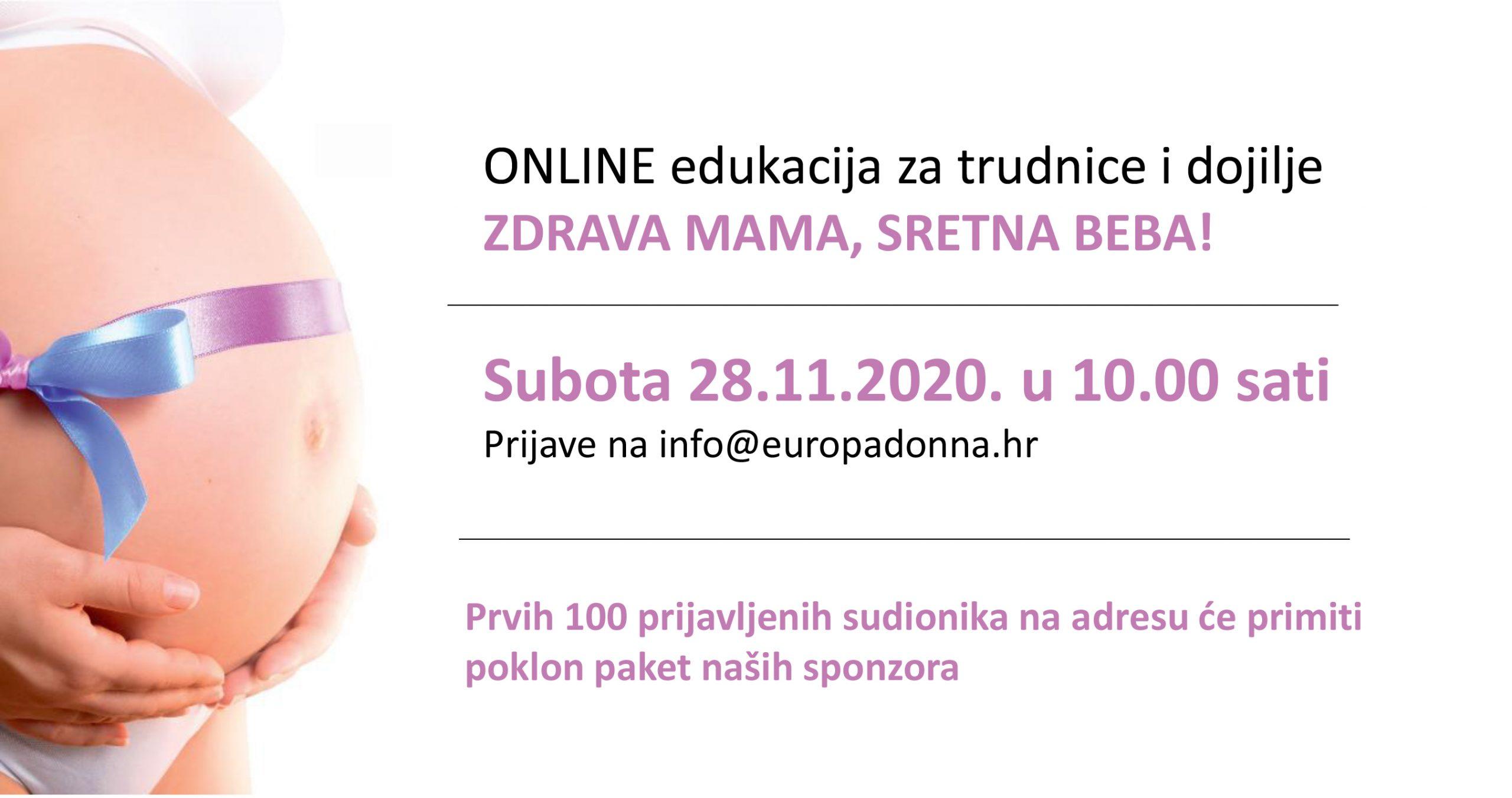 Humanitarna akcija udruge Europa Donna Hrvatska: besplatna online edukacija za trudnice i dojilje