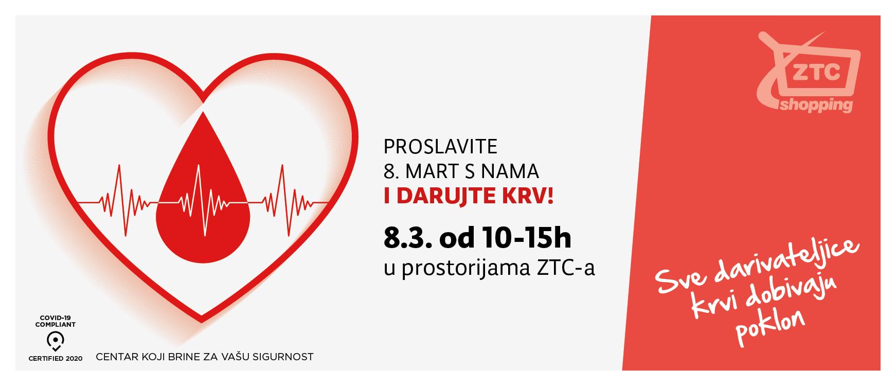 Proslavite 8. mart u ZTC-u i darujte krv!