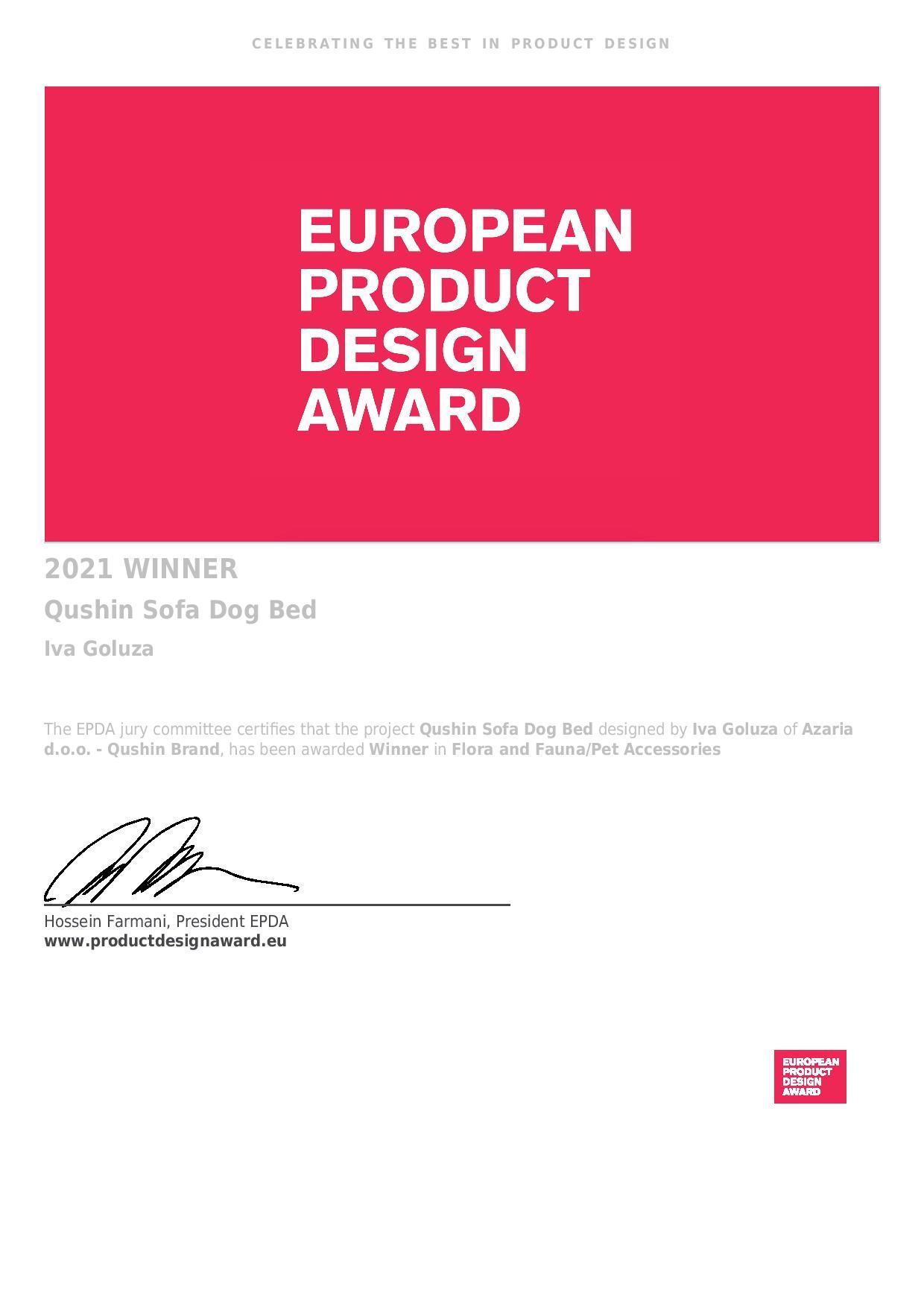 Hrvatski brend Qushin dobitnik je prestižne nagrade European product design award 2021.